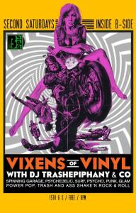 Vixens of Vinyl poster as used in the TUBE. Magazine article, What I'm Listening To: Vixens of Vinyl.