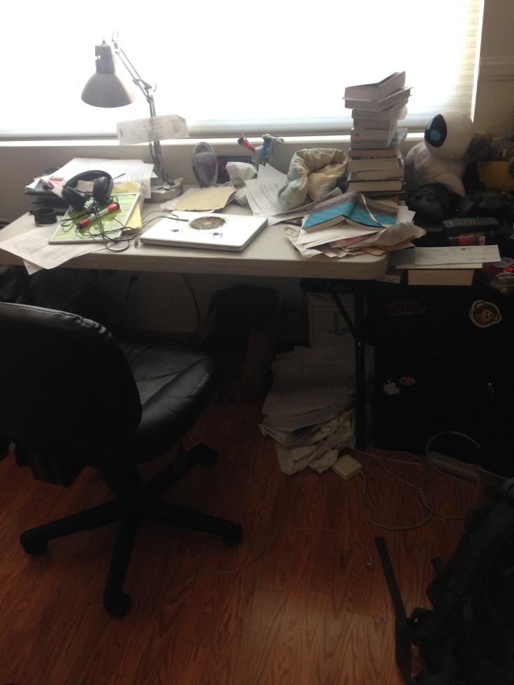 Mid-rewrite desk hurricane.